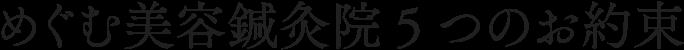 めぐむ美容鍼灸院の5つの約束|大阪、難波の女性専用美容鍼【めぐむ美容鍼灸院】